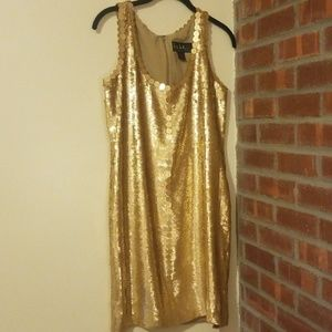 Nicole Miller Gold Sequin Dress